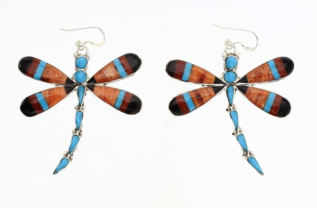 Zuni Multi Color Butterfly Inlay Earrings