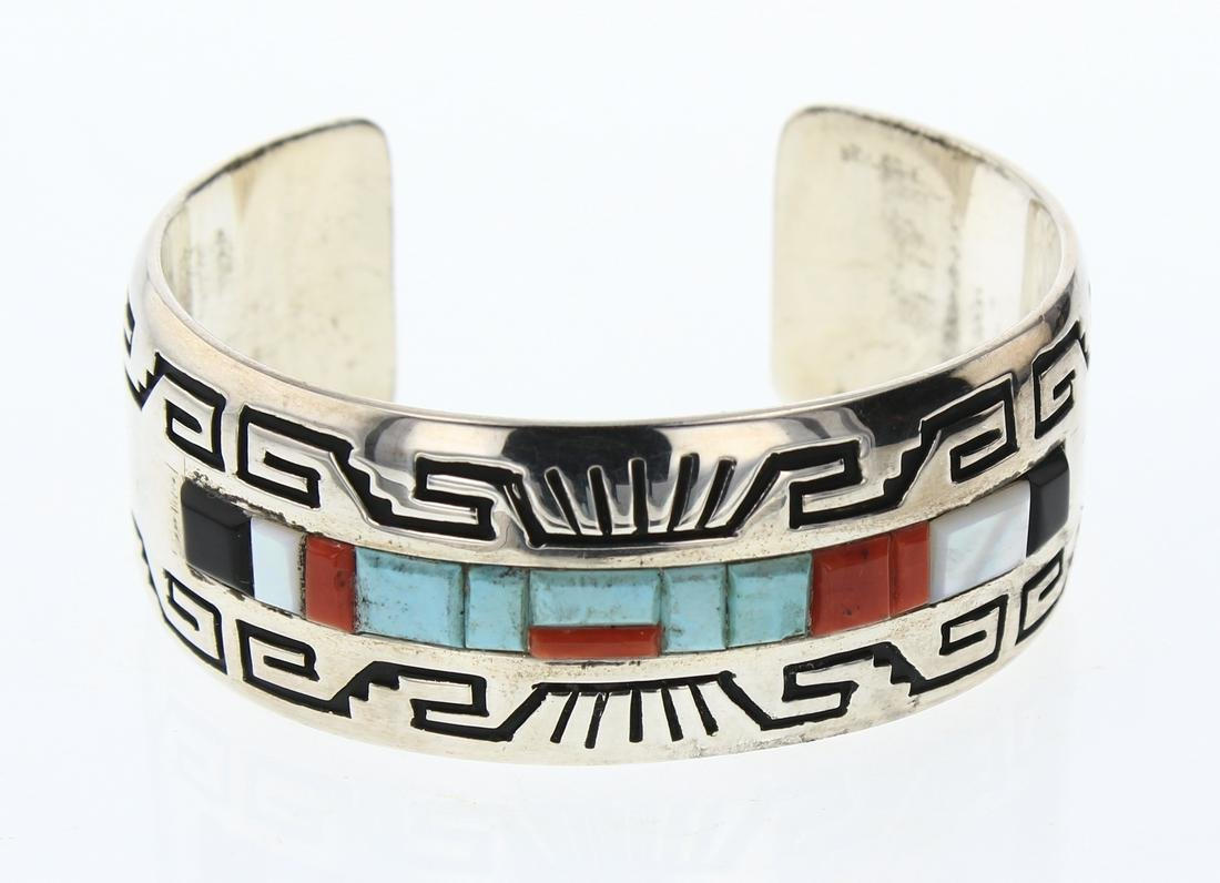 Alvin & Lula Begay Turquoise & Coral Cobblestone Inlay