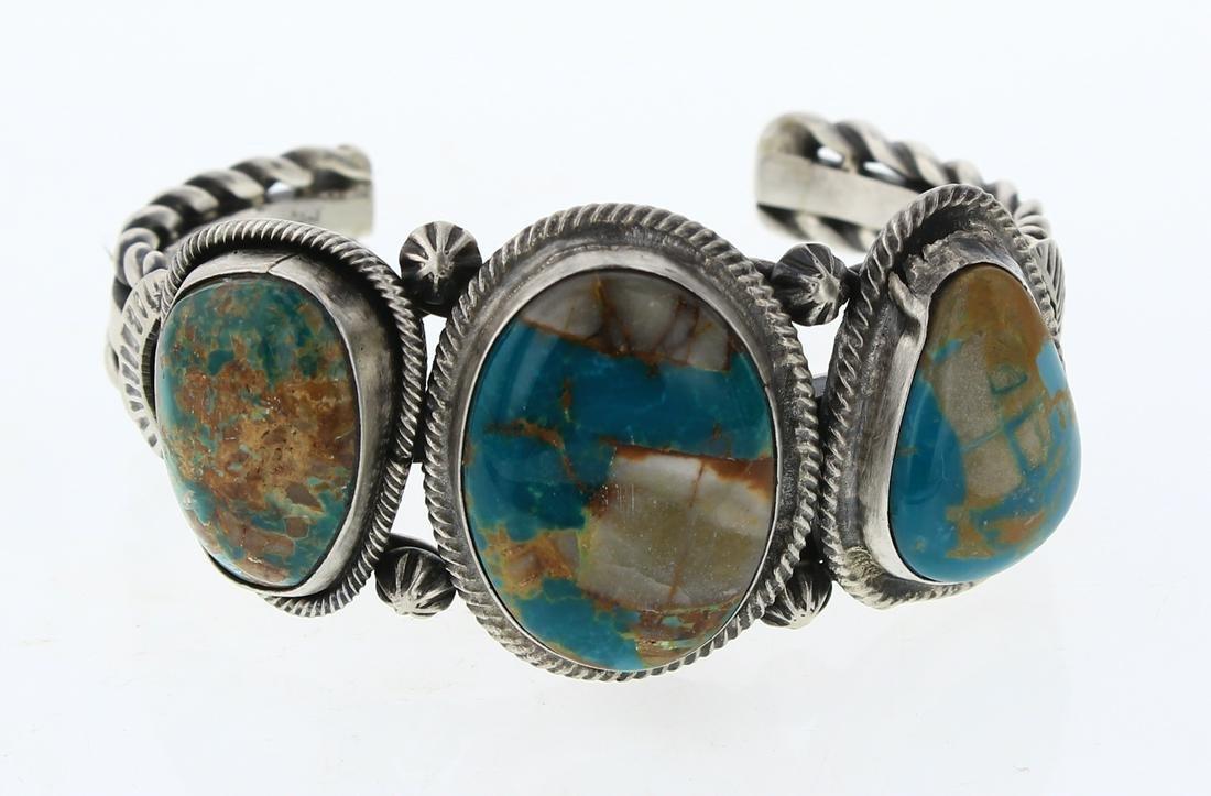 Boulder Turquoise Large Freeform Row Bracelet