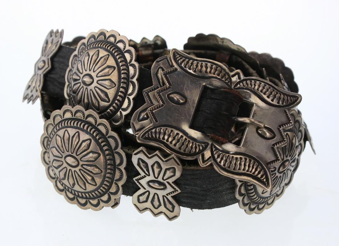 Old Pawn Heavy Stamp Vintage Concho Belt