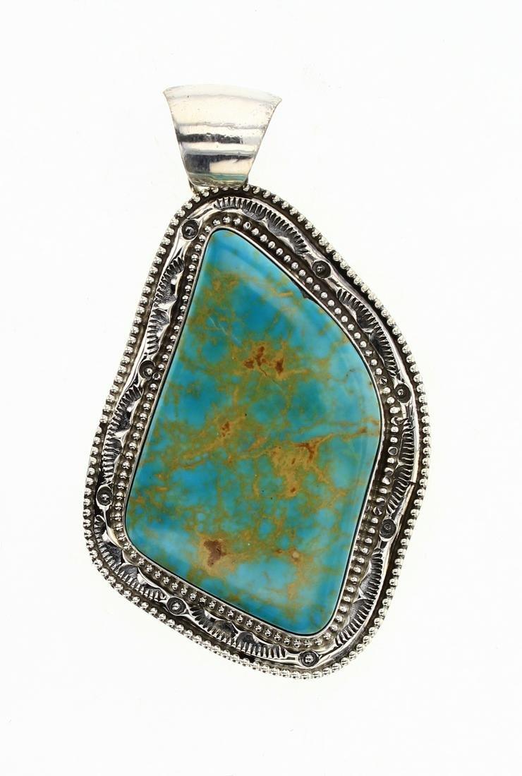AL Vintage Turquoise Mountain Large Turquoise Pendant