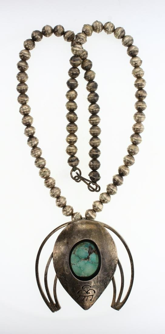 Old Pawn Turquoise Shadow Box Naja Pendant & Navajo
