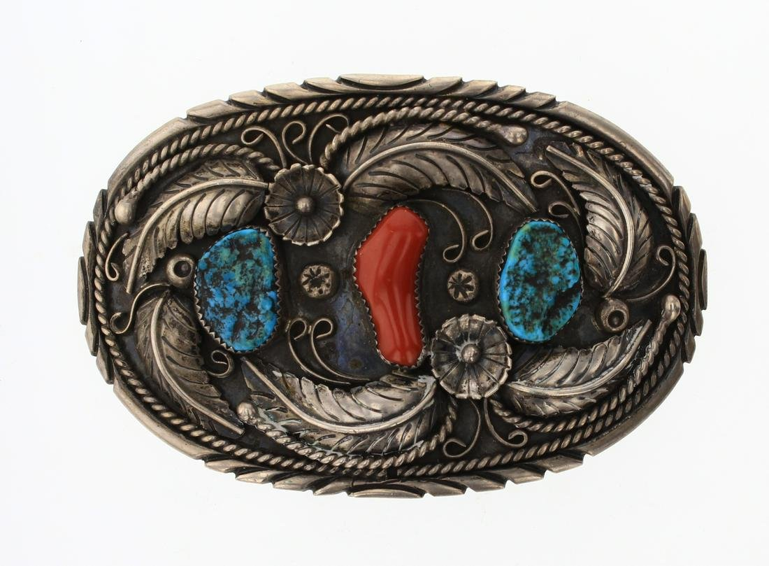 Old Pawn Turquoise & Coral Branch Garden motif Belt