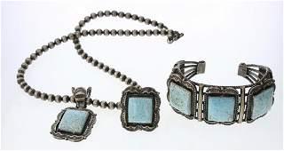 Vintage Number Eight Turquoise Bracelet Ring & Pendant