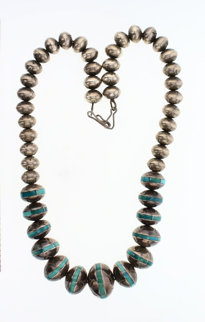 Vintage Old Pawn Inlay Turquoise Navajo Pearls Beads