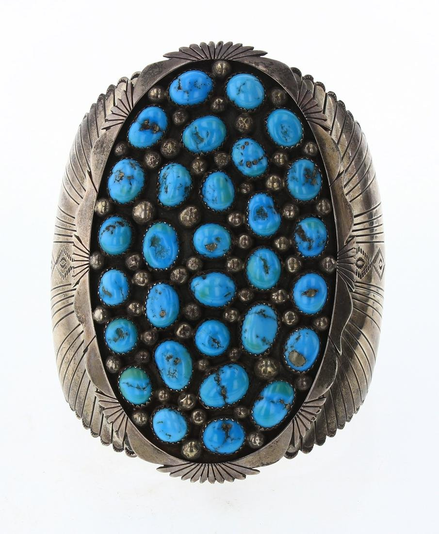Old Pawn Natural Turquoise Freeform Large Stamp Cuff
