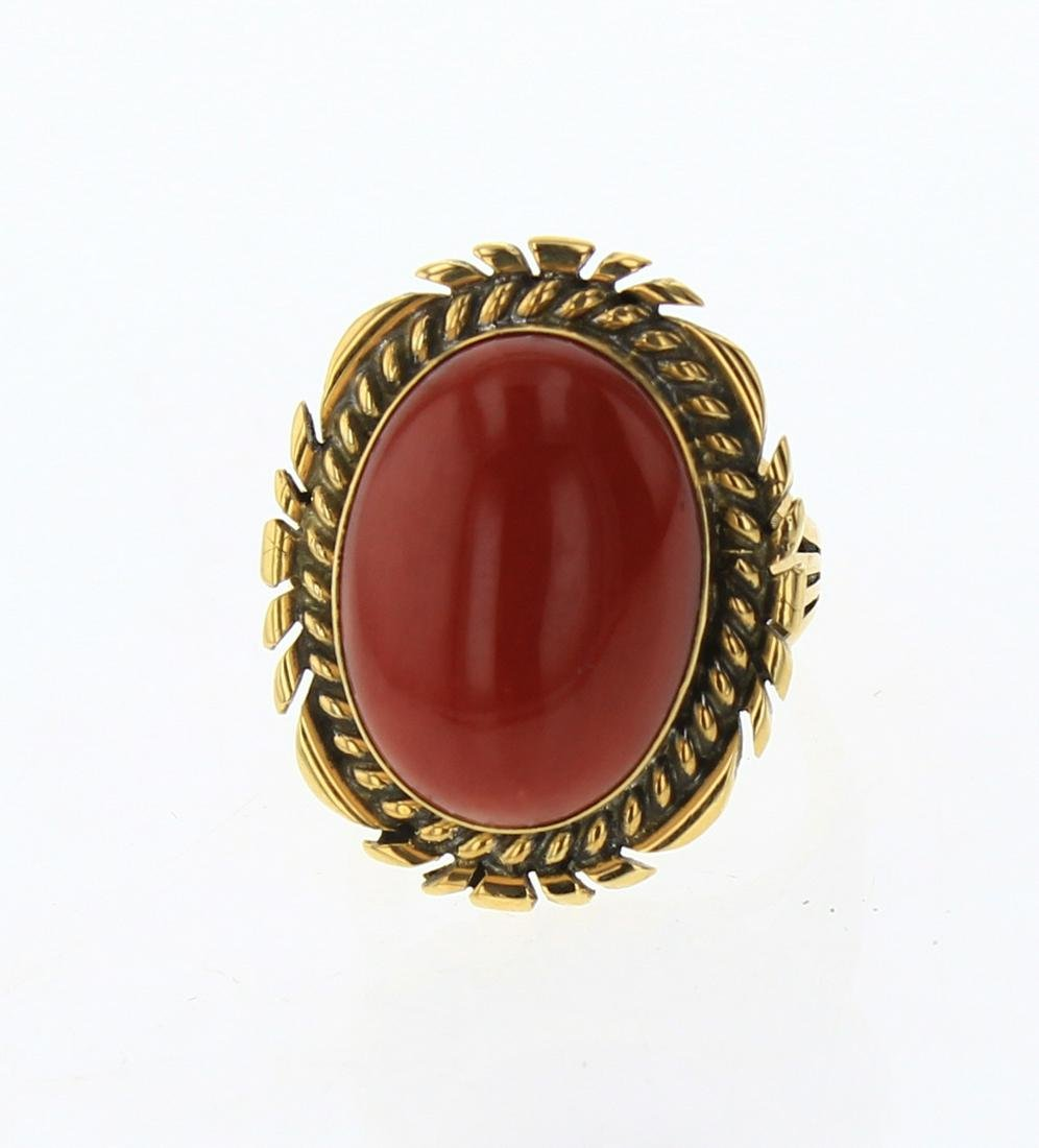 Mark Yazzie Solid 18K Gold Natural Coral Ring