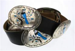 Old pawn Turquoise & MoP Zuni Bird Inlay Concho Belt