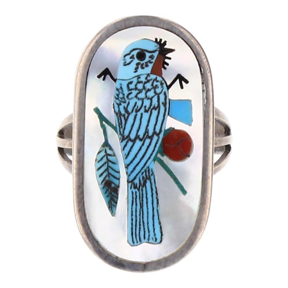 Harlan Coonsis Zuni Inlay Blue Jay Ring