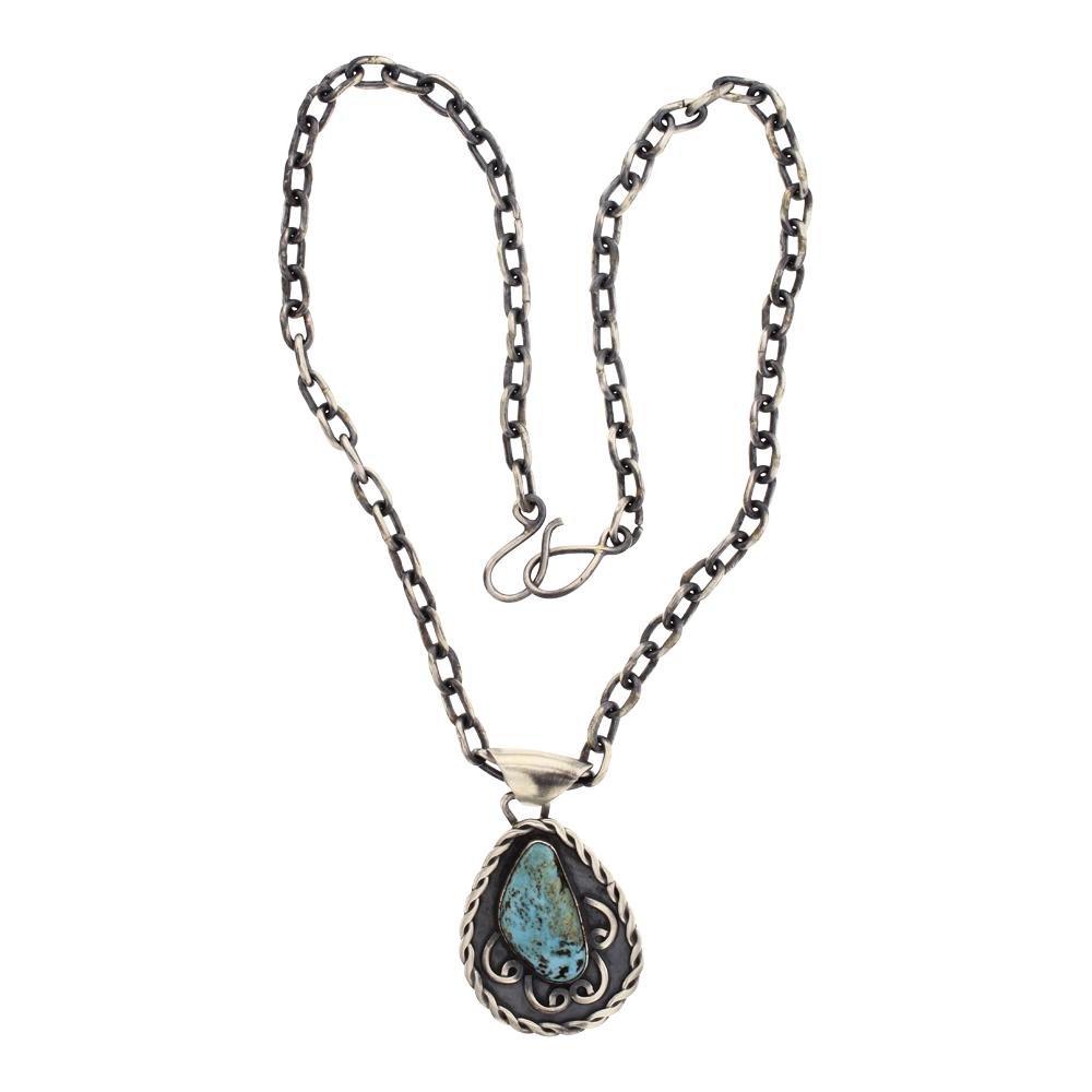 Vintage Turquoise Pendant & Chain Link Necklace