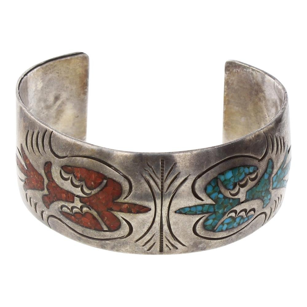 Old Pawn Turquoise & Coral Chip Inlay Cuff Bracelet