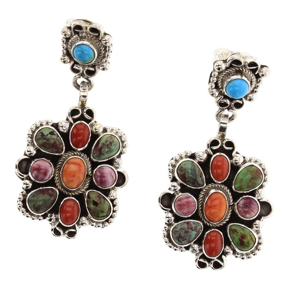 Contemporary Multi Color Post Cluster Earrings
