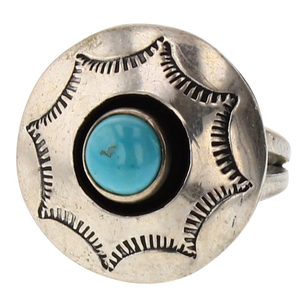 Vintage Turquoise Shadow Box Heavy Stamp Ring