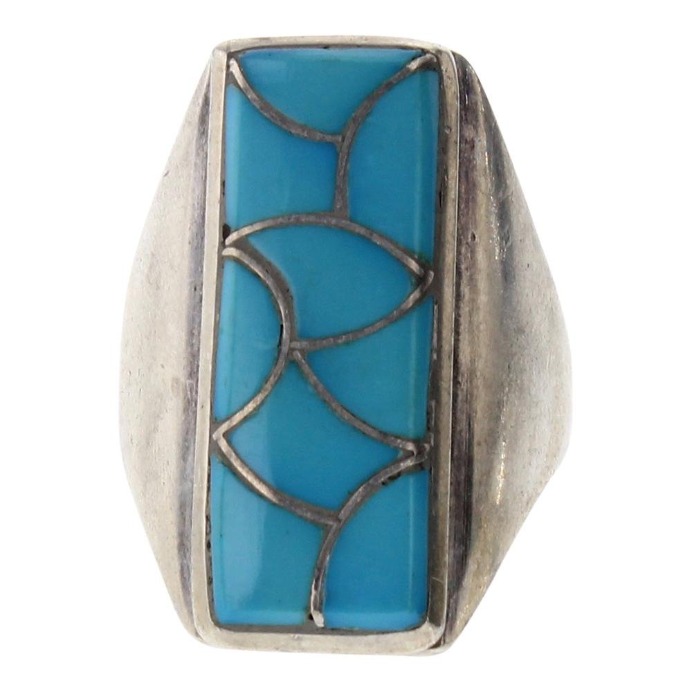 Old Pawn Sleeping Beauty Turquoise Men's Inlay Ring