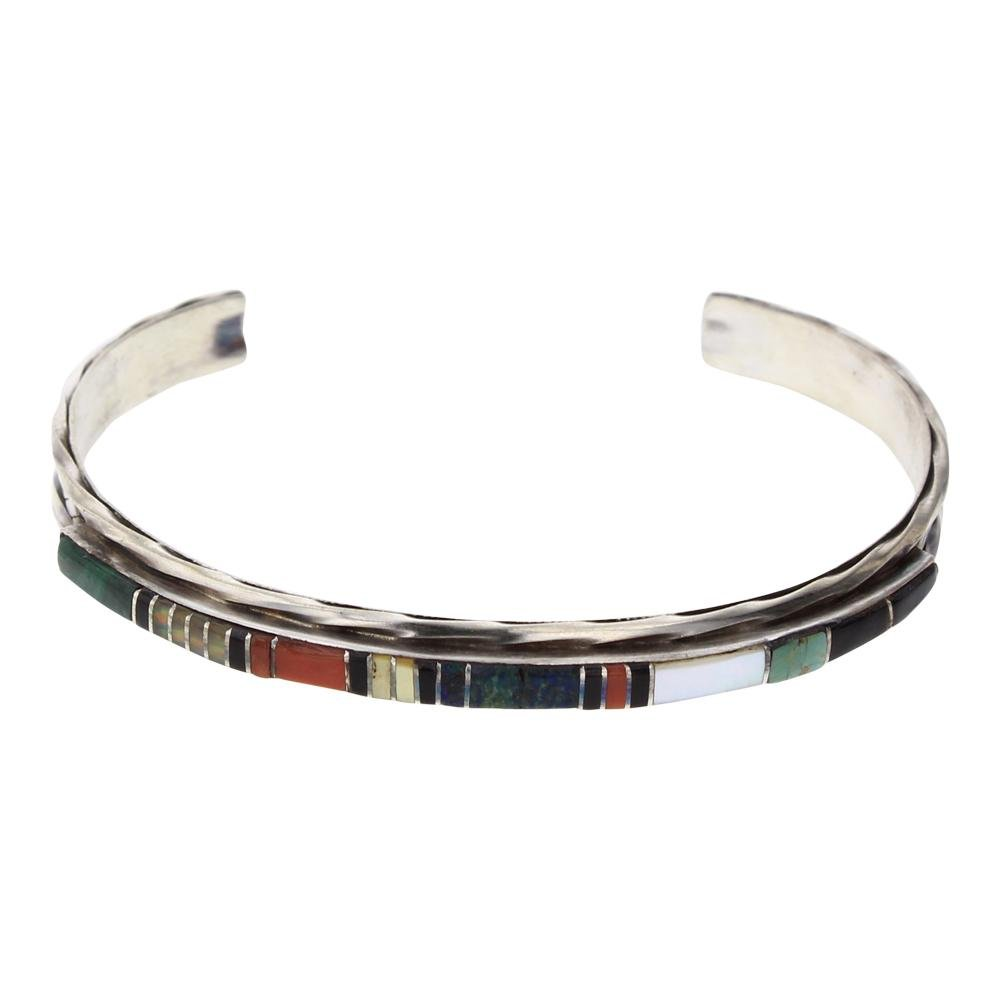 L. Bowannie Shewe Multi Color Turquoise Inlay Bracelet