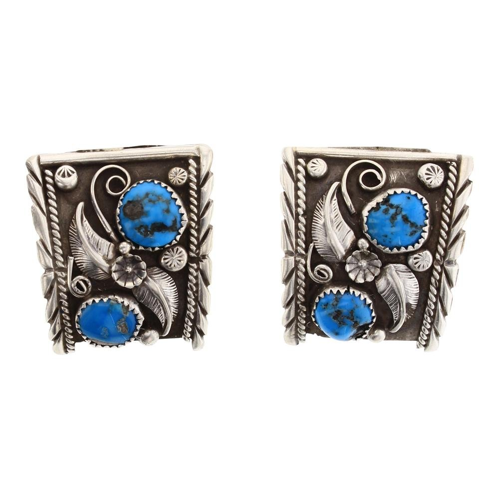 Sleeping Beauty Turquoise Garden Motif Post Earrings