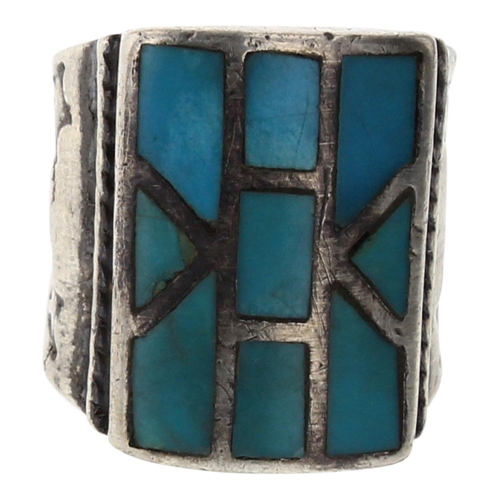 Old Pawn Turquoise Inlay Men's Ring