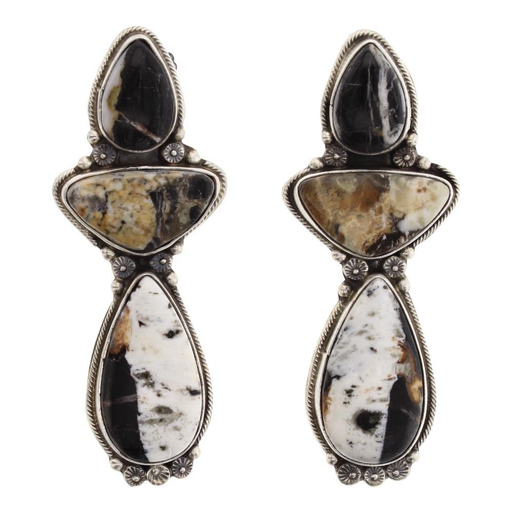 Sheila Becenti White Buffalo Cluster Earrings