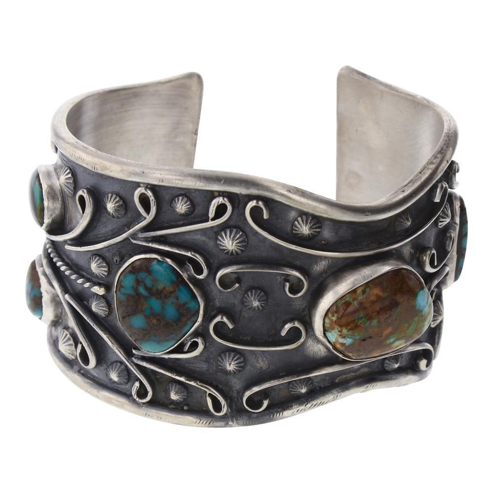 Old Pawn Freeform Turquoise Cuff Bracelet.