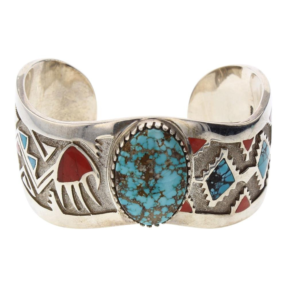 Michael Perry Turquoise & Coral Inlay Overlay Mixed