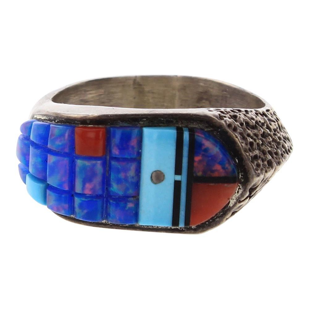 Vintage Multi Color Cobblestone Inlay Ring