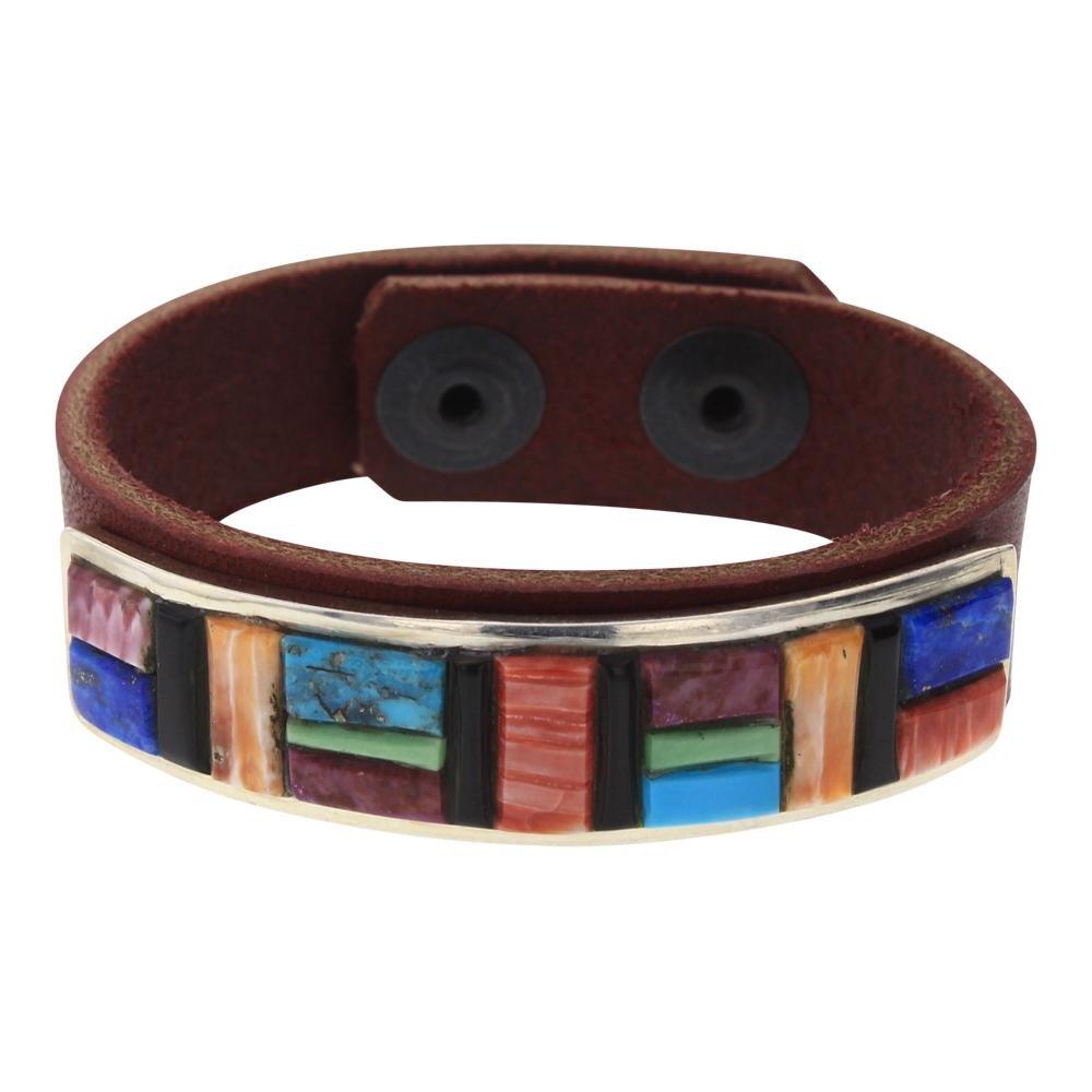 Multi Color Cobblestone inlay Leather Bracelet