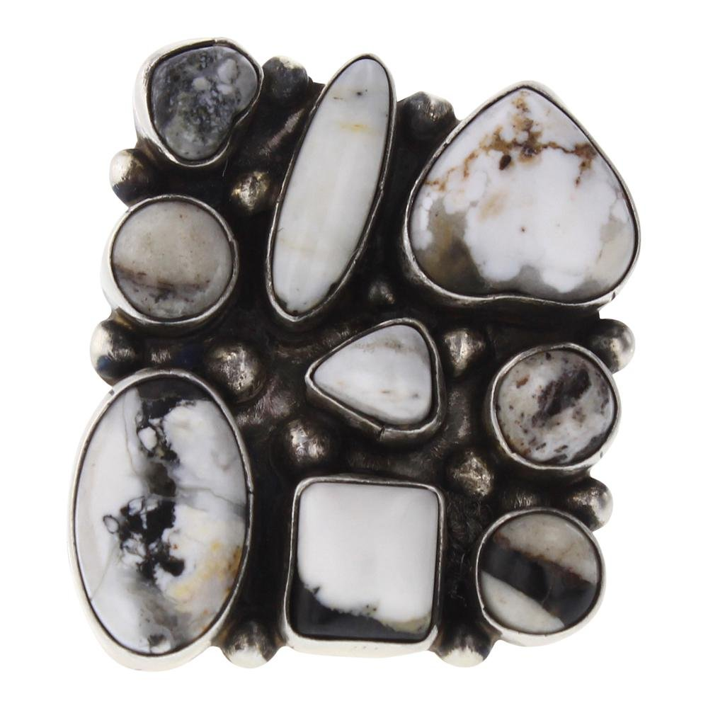 Bobby Johnson White Buffalo Cluster Freeform Ring