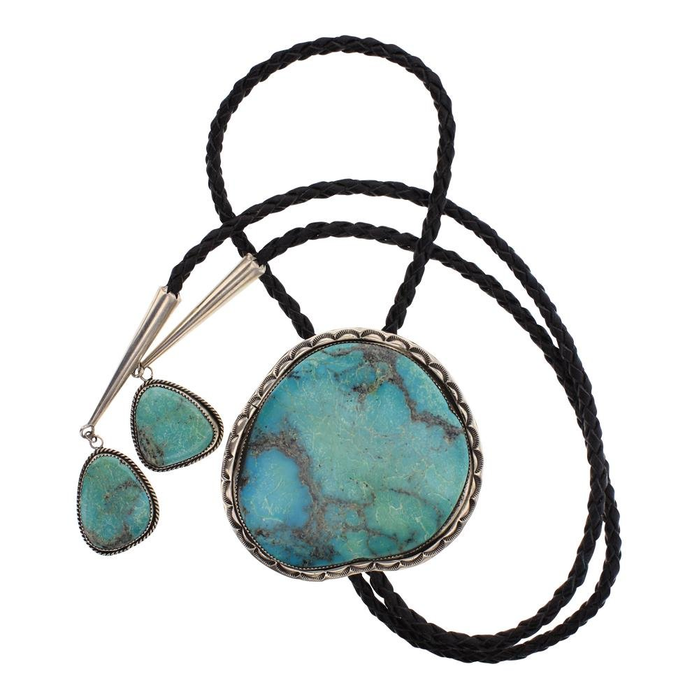 Old Pawn Large Turquoise Bolo Tie
