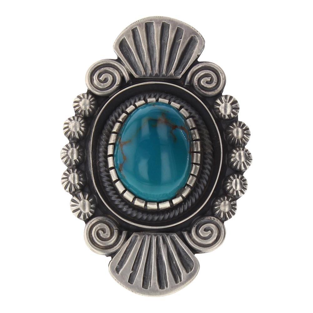Leon Martinez Turquoise Heavy Star Drop Stamp Ring