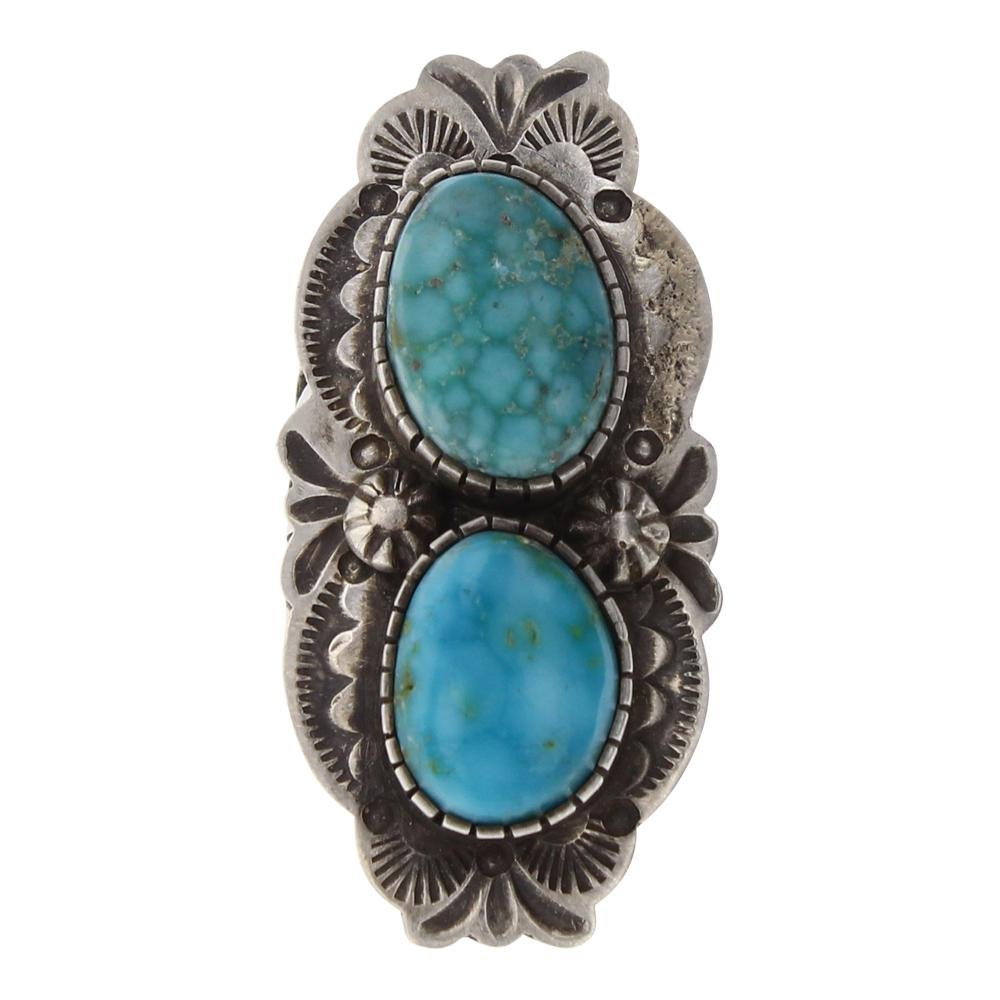 Bobby Johnson White Water Turquoise Heavy Stamp Ring