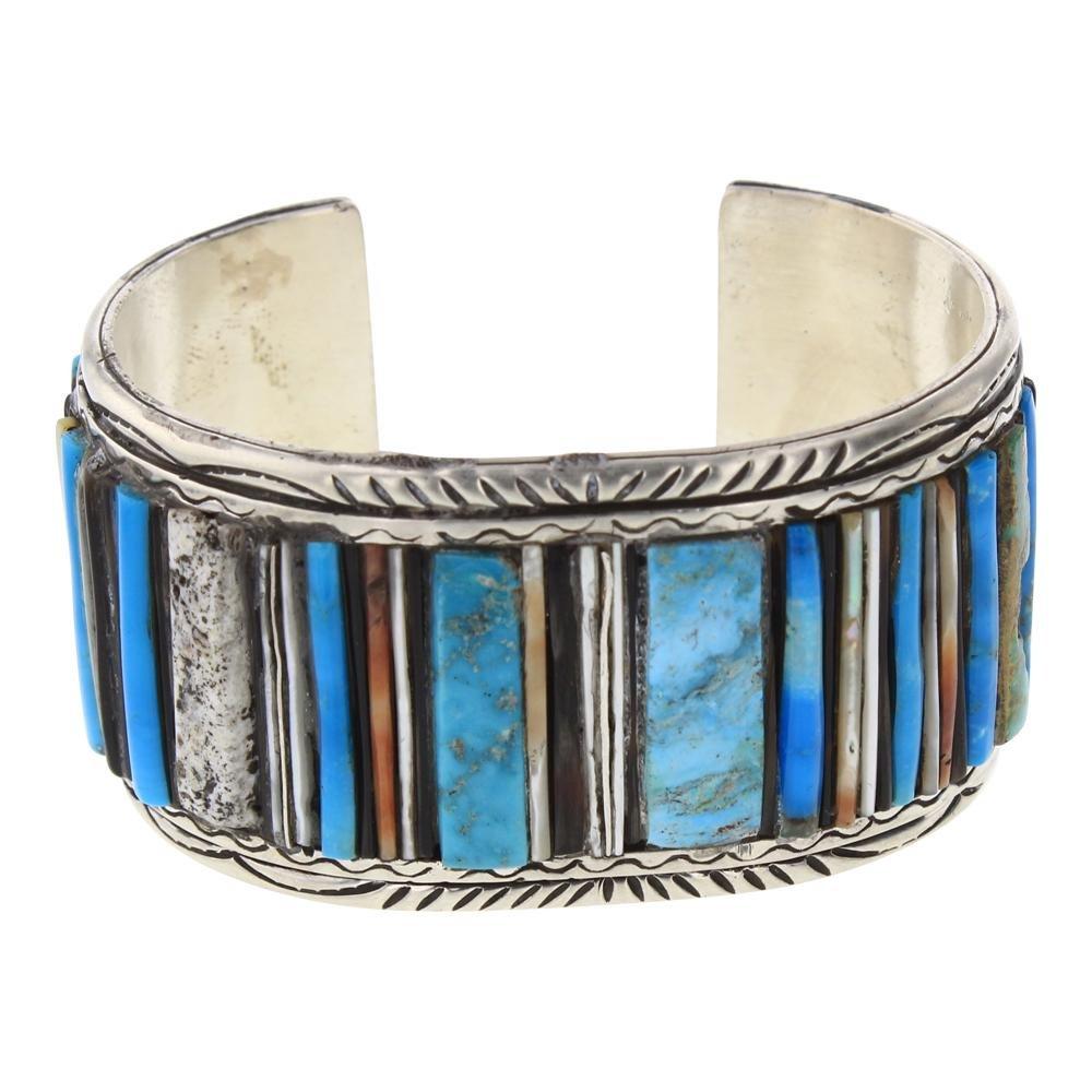 Vintage Multi Stone Inlay Cuff Bracelet