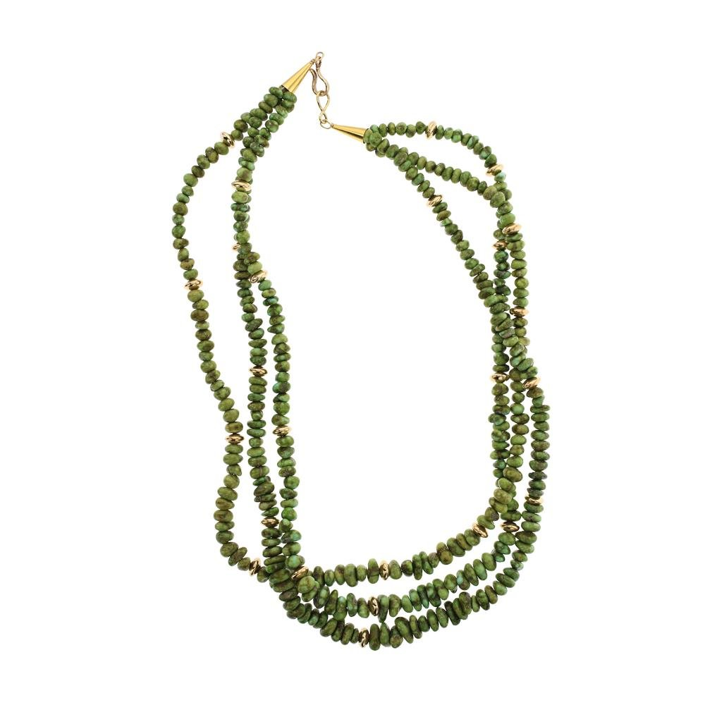14K Gold Sonoran Turquoise Three Strand Necklace