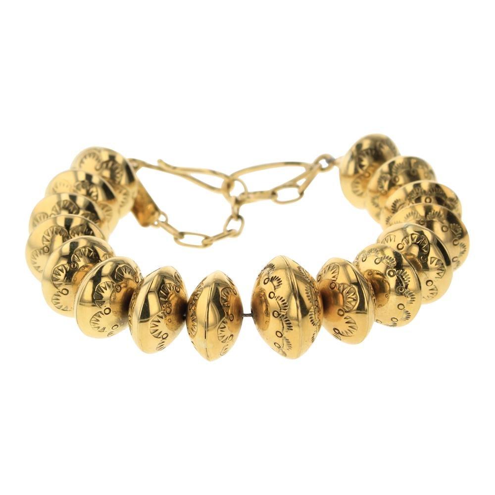 Mark Yazzie 18K Gold Roundel Stamp Bracelet