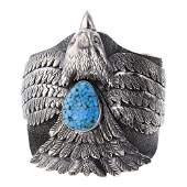 Larry Martinez Spiderweb Kingman Turquoise Eagle Cuff