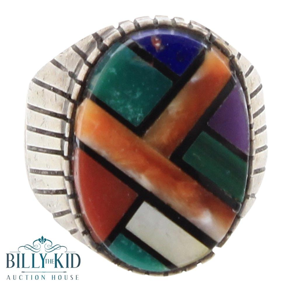 Vintage Multi Stone Men's Inlay Ring