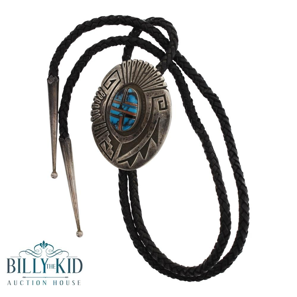 Old Pawn Turquoise & Coral Inlay Bolo Tie
