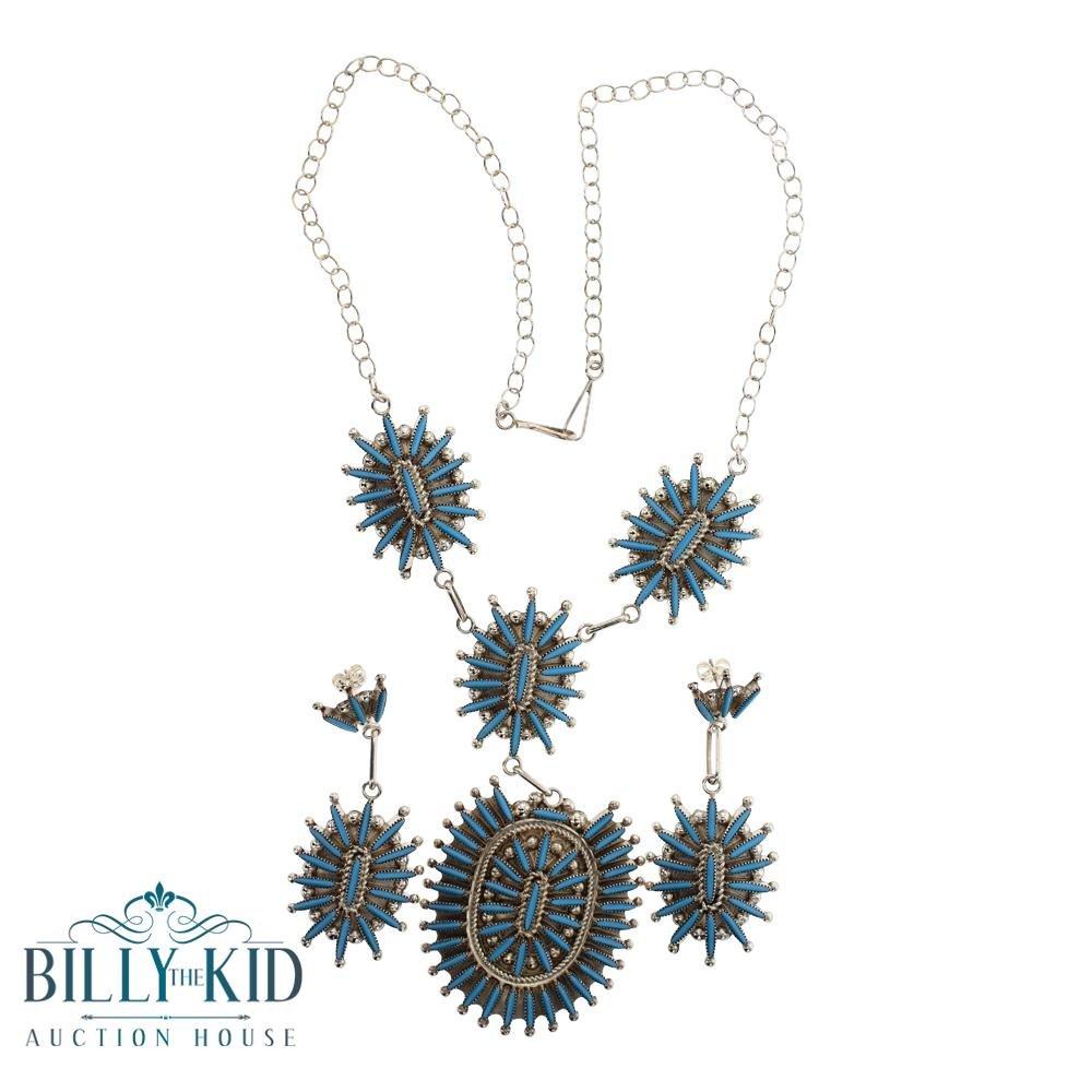 C.L Zuni Needlepoint Inlay Sleeping Beauty Turquoise