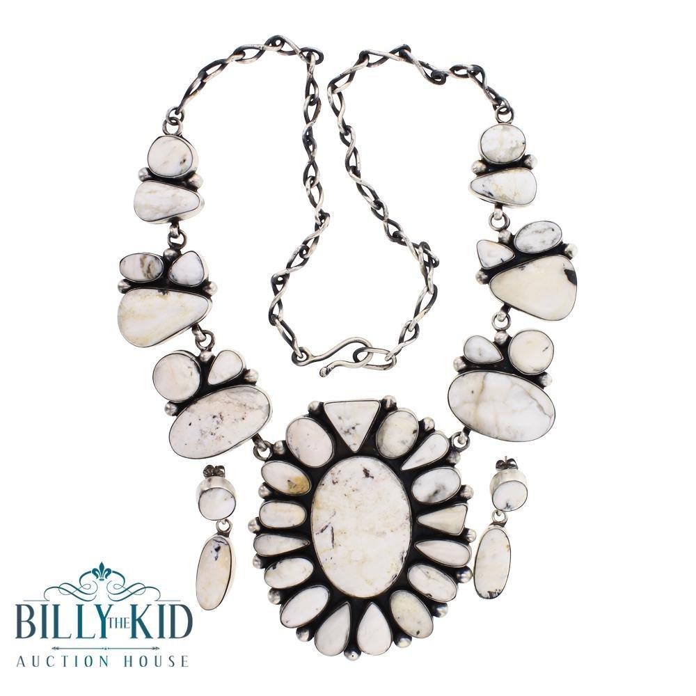 Betty Tom White Buffalo Freeform Large Cluster Necklace
