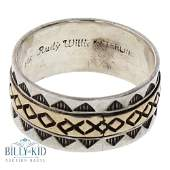 Rudy Willie Sterling Silver Over 14K Gold Stamp Ring