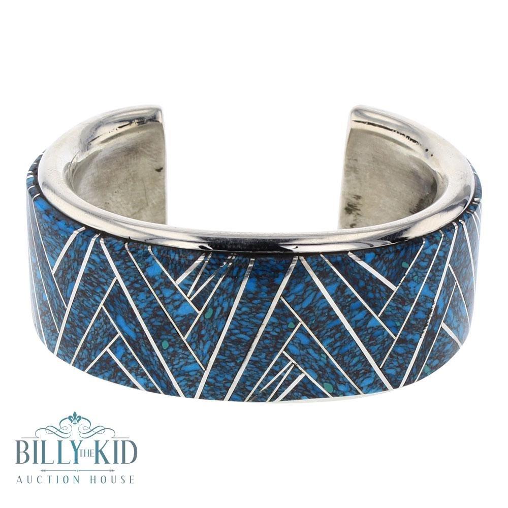 Mark Yazzie Turquoise Inlay Wide Cuff Bracelet
