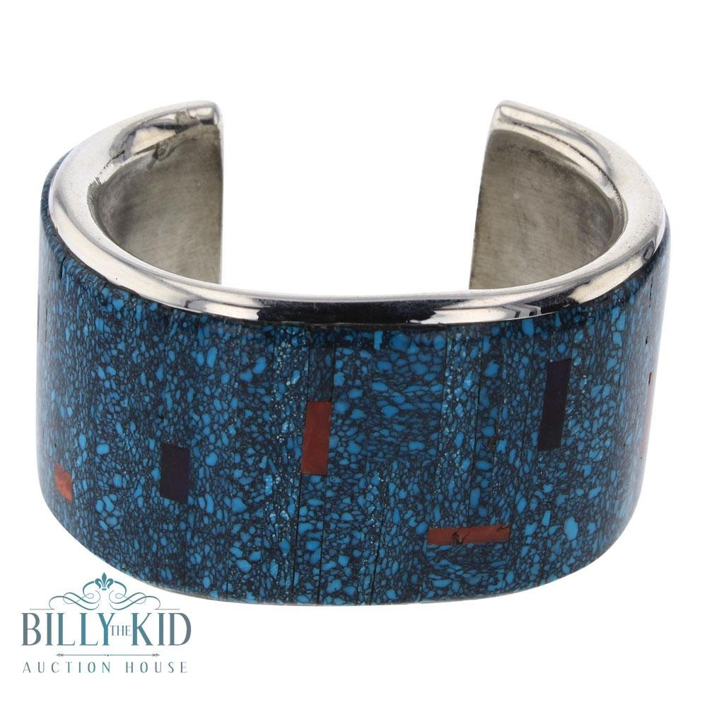 Mark Yazzie Turquoise Coral & lapis Inlay Wide Cuff
