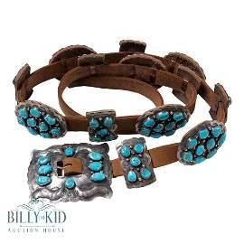 Vintage Kingman Turquoise Freeform Cluster Concho Belt