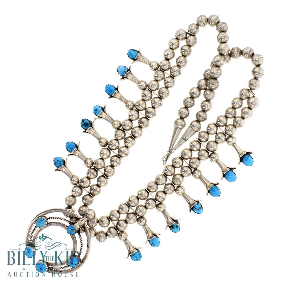 LFK Vintage Pawn Turquoise Squash Blossom Necklace