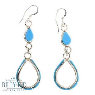 Turquoise Zuni Inlay Hoop Dangle Earrings