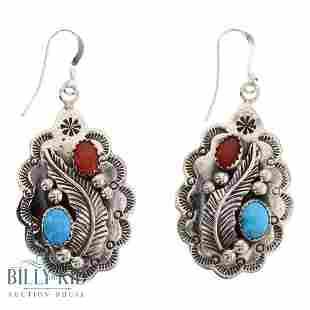 T. Hasteen Sleeping Beauty Turquoise & Coral Earrings