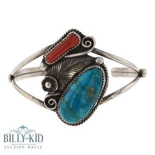 Old Pawn Blue Gem Turquoise & Branch Coral Bracelet
