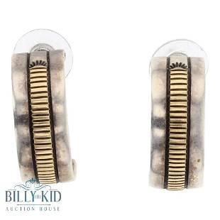 Bruce Moran 14K Gold over Silver Half hoop Earrings