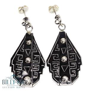 Randy Billy Plain Silver Overlay Earrings