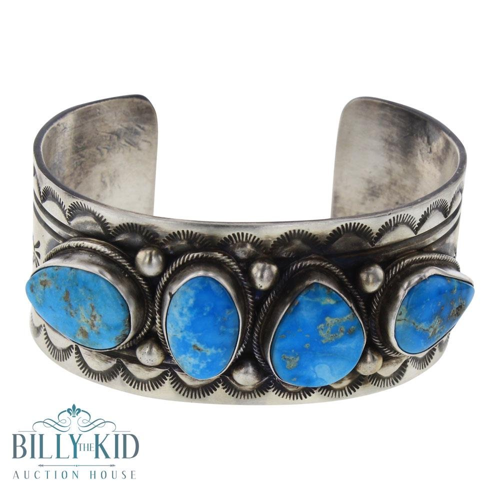 Bobby Johnson Blue Ridge Turquoise Stamp  Cuff Bracelet
