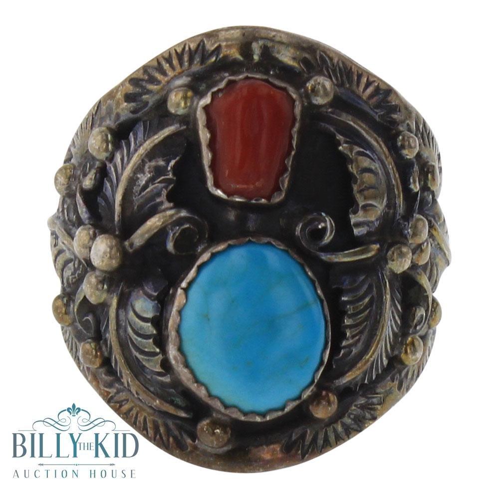 Old Pawn Kingman Turquoise & Coral Men's Leaf Ring